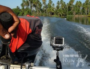 RUN fX on a paradise lagoon speed boat