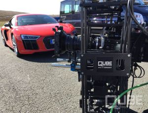 QUBE stabilized camera head shooting AUDI R8 V10 with a SONY F55