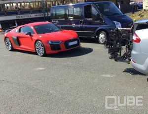 QUBE stabilized camera remote head shooting AUDI R8 V10 at Isle of Man