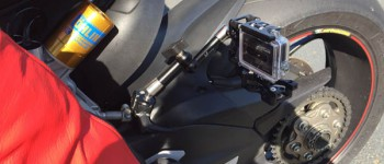 RUN fX mounted with flex arm and mini clamp on a DUCATI Panigale 1299